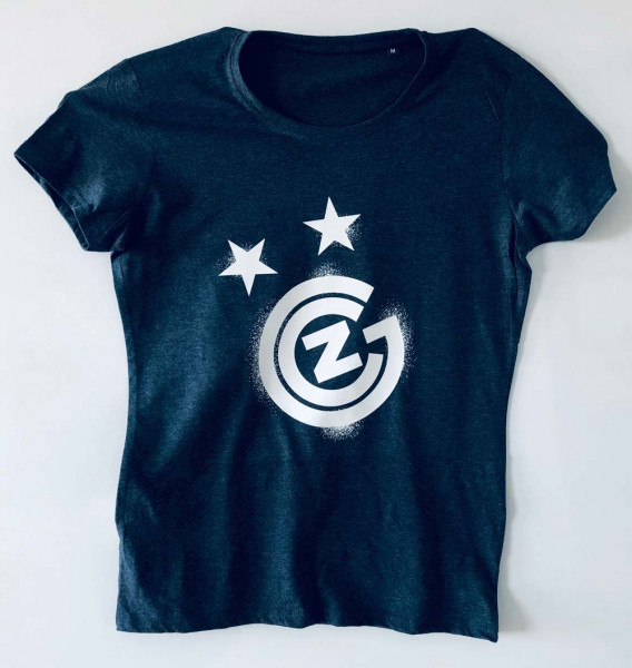 T-Shirt Ladies blau, Grafiti-Logo weiss